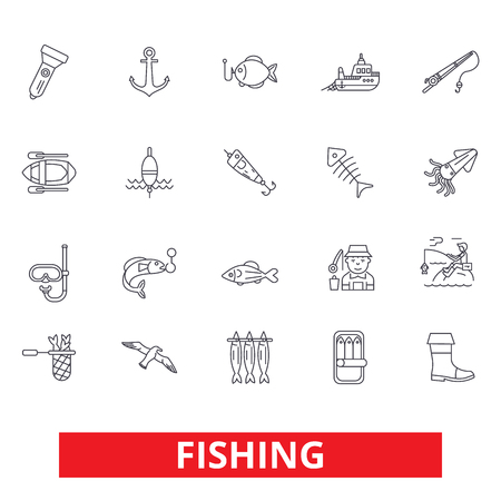 Fishing boat, rod, yachting, hook, fish, fisherman, sea food line icons. Editable strokes. Flat design vector illustration symbol concept. Linear signs isolated on white background Ilustração