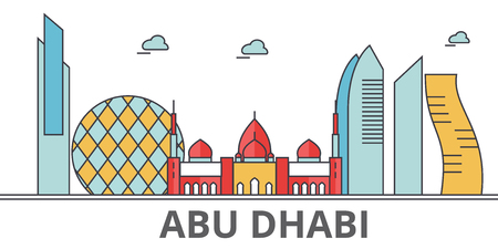 Abu Dhabi city skyline buildings, streets, silhouette, architecture, landscape, panorama, landmarks. Editable strokes. Flat design line vector illustration concept. Isolated icons on white background Ilustração