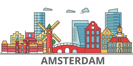 アムステルダムの街のスカイライン。建物、通り、シルエット、建築、風景、パノラマ、ランドマーク。編集可能なストローク。フラットなデザイ  イラスト・ベクター素材