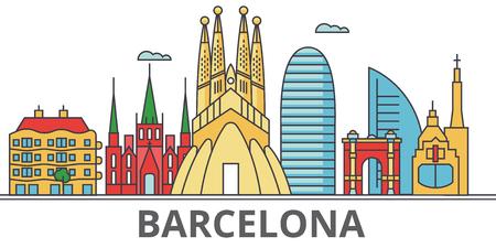 Orizzonte della città di Barcellona. Edifici, strade, silhouette, architettura, paesaggio, panorama, punti di riferimento. Tratti modificabili. Concetto di illustrazione vettoriale linea di disegno piatto. Icone isolate su sfondo bianco