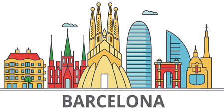 Barcelona city skyline. Buildings, streets, silhouette, architecture, landscape, panorama, landmarks. Editable strokes. Flat design line vector illustration concept. Isolated icons on white background