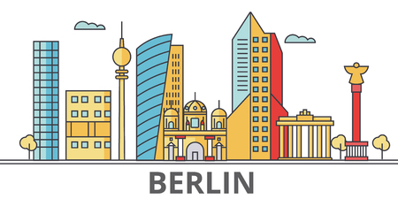 Berlin city skyline. Buildings, streets, silhouette, architecture, landscape, panorama, landmarks. Editable strokes. Flat design line vector illustration concept. Isolated icons on white background Illustration