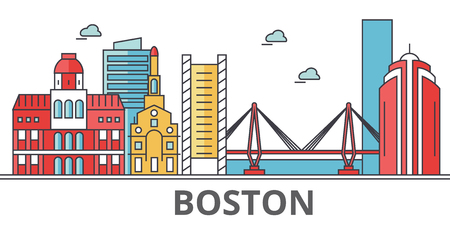 Boston city skyline. Buildings, streets, silhouette, architecture, landscape, panorama, landmarks. Editable strokes. Flat design line vector illustration concept. Isolated icons on white background Illustration