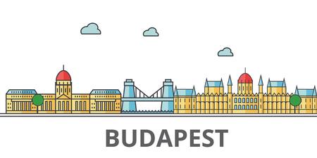 ブダペストの街並み。建物、通り、シルエット、建築、風景、パノラマ、ランドマーク。編集可能なストローク。フラットなデザイン ラインのベク