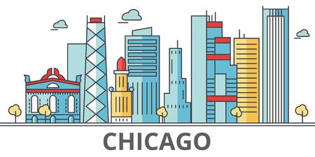 シカゴの街並み。建物、通り、シルエット、建築、風景、パノラマ、ランドマーク。編集可能なストローク。フラットなデザイン ラインのベクトル