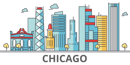 Chicago city skyline. Buildings, streets, silhouette, architecture, landscape, panorama, landmarks. Editable strokes. Flat design line vector illustration concept. Isolated icons on white background