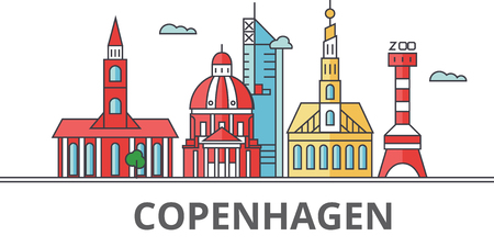 Copenhagen city skyline. Buildings, streets, silhouette, architecture, landscape, panorama, landmarks. Editable strokes. Flat design line vector illustration concept Isolated icons on background