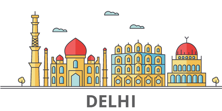 Delhi city skyline. Buildings, streets, silhouette, architecture, landscape, panorama, landmarks. Editable strokes. Flat design line vector illustration concept. Isolated icons on white background Illustration