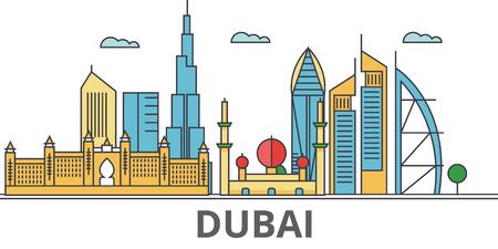 Skyline de la ville de Dubaï. Bâtiments, rues, silhouette, architecture, paysage, panorama, monuments. Traits modifiables. Concept d'illustration vectorielle ligne design plat. Icônes isolées sur fond blanc Banque d'images - 78424051