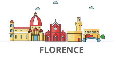 フィレンツェの街並み。建物、通り、シルエット、建築、風景、パノラマ、ランドマーク。編集可能なストローク。フラットなデザイン ラインのベ