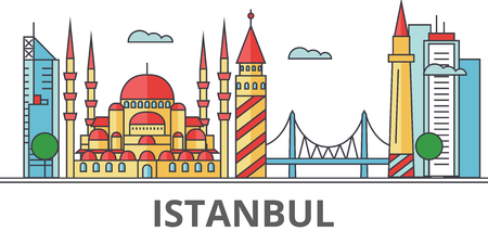 Istanbul city skyline. Buildings, streets, silhouette, architecture, landscape, panorama, landmarks. Editable strokes. Flat design line vector illustration concept. Isolated icons on white background Illustration