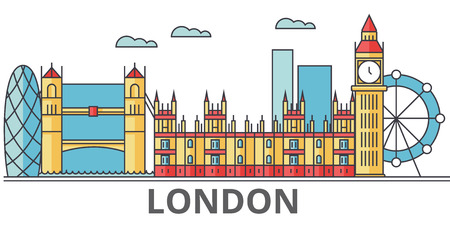 London city skyline, buildings, streets, silhouette, architecture, landscape, panorama, landmarks. Editable strokes. Flat design line vector illustration concept. Isolated icons on white background