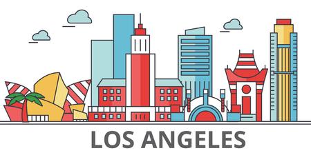 ロサンゼルスの街並み、建物、通り、シルエット、建築、風景、パノラマ、ランドマーク。編集可能なストローク。フラットなデザイン ラインのベ  イラスト・ベクター素材
