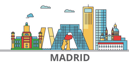 Madrid city skyline, buildings, streets, silhouette, architecture, landscape, panorama, landmarks. Editable strokes. Flat design line vector illustration concept. Isolated icons on white background 向量圖像