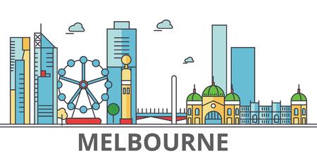 メルボルン市街のスカイライン。建物、通り、シルエット、建築、風景、パノラマ、ランドマーク。編集可能なストローク。フラットなデザイン ラ