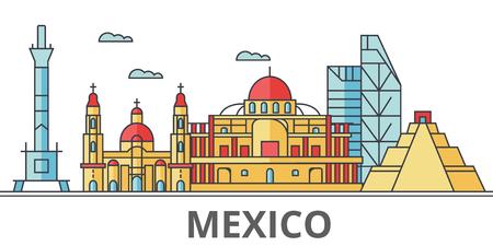 メキシコ シティ スカイライン。建物、通り、シルエット、建築、風景、パノラマ、ランドマーク。編集可能なストローク。フラットなデザイン ラ  イラスト・ベクター素材