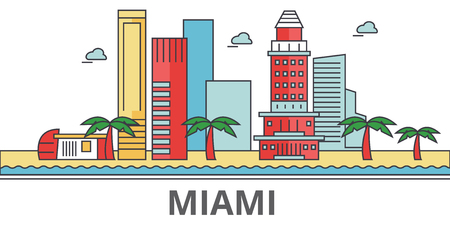Miami city skyline. Buildings, streets, silhouette, architecture, landscape, panorama, landmarks. Editable strokes. Flat design line vector illustration concept. Isolated icons on white background