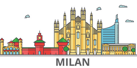 Milan city skyline. Buildings, streets, silhouette, architecture, landscape, panorama, landmarks. Editable strokes. Flat design line vector illustration concept. Isolated icons on white background