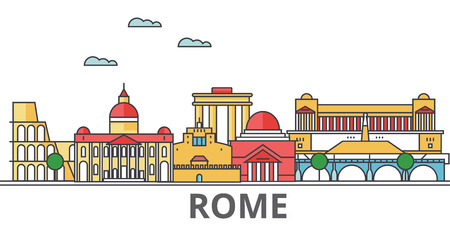Rome city skyline. Buildings, streets, silhouette, architecture, landscape, panorama, landmarks. Editable strokes. Flat design line vector illustration concept. Isolated icons on white background Vettoriali