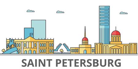 サンクトペテルブルクの街のスカイライン。建物、通り、シルエット、建築、風景、パノラマ、ランドマーク。編集可能なストローク。フラットな