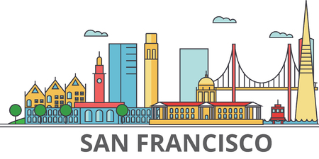サンフランシスコの街のスカイライン。建物、通り、シルエット、建築、風景、パノラマ、ランドマーク。編集可能なストローク。フラットなデザ