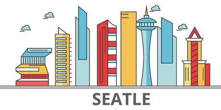 シアトルの街並み。建物、通り、シルエット、建築、風景、パノラマ、ランドマーク。編集可能なストローク。フラットなデザイン ラインのベクト  イラスト・ベクター素材