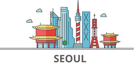 ソウルの街のスカイライン。建物、通り、シルエット、建築、風景、パノラマ、ランドマーク。編集可能なストローク。フラットなデザイン ライン  イラスト・ベクター素材