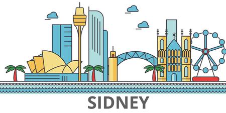 シドニー市のスカイライン。建物、通り、シルエット、建築、風景、パノラマ、ランドマーク。編集可能なストローク。フラットなデザイン ライン