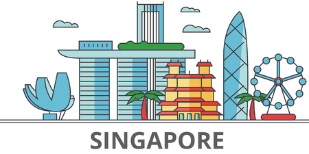 Singapore city skyline. Buildings, streets, silhouette, architecture, landscape, panorama, landmarks. Editable strokes. Flat design line vector illustration concept. Isolated icons on white background Vectores