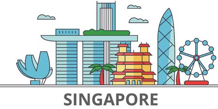 Skyline della città di Singapore. Edifici, strade, silhouette, architettura, paesaggio, panorama, punti di riferimento. Tratti modificabili Concetto di design piatto linea vettoriale illustrazione. Icone isolate su sfondo bianco Archivio Fotografico - 78424075
