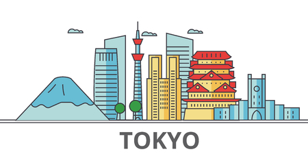 Tokyo Japan city skyline. Buildings, streets, silhouette, architecture, landscape, panorama, landmarks. Editable strokes. Flat design line vector illustration concept. Isolated icons on background