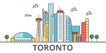 Toronto city skyline. Buildings, streets, silhouette, architecture, landscape, panorama, landmarks. Editable strokes. Flat design line vector illustration concept. Isolated icons on white background Illustration