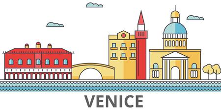 Skyline de la ville de Venise. Bâtiments, rues, silhouette, architecture, paysage, panorama, monuments. Traits modifiables. Concept d'illustration vectorielle ligne design plat. Icônes isolées sur fond blanc Banque d'images - 78424086