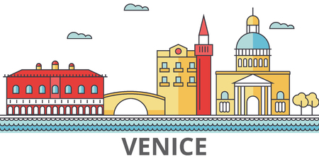 Venice city skyline. Buildings, streets, silhouette, architecture, landscape, panorama, landmarks. Editable strokes. Flat design line vector illustration concept. Isolated icons on white background Vettoriali