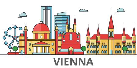 Wenen stad skyline. Gebouwen, straten, silhouet, architectuur, landschap, panorama, bezienswaardigheden. Bewerkbare strepen. Vlakke ontwerp lijn vector illustratie concept. Geïsoleerde pictogrammen op een witte achtergrond Vector Illustratie