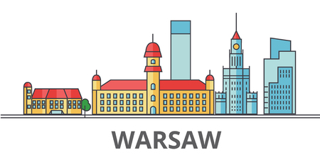 Warsaw city skyline. Buildings, streets, silhouette, architecture, landscape, panorama, landmarks. Editable strokes. Flat design line vector illustration concept. Isolated icons on white background