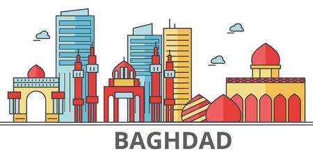 Bagdad stad skyline. Gebouwen, straten, silhouet, architectuur, landschap, panorama, bezienswaardigheden. Bewerkbare strepen. Vlakke ontwerp lijn vector illustratie concept. Geïsoleerde pictogrammen op een witte achtergrond