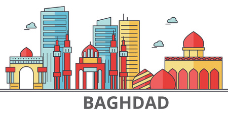 Baghdad city skyline. Buildings, streets, silhouette, architecture, landscape, panorama, landmarks. Editable strokes. Flat design line vector illustration concept. Isolated icons on white background