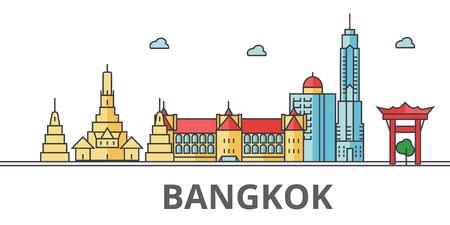 Bangkok city skyline. Buildings, streets, silhouette, architecture, landscape, panorama, landmarks. Editable strokes. Flat design line vector illustration concept. Isolated icons on white background Illustration