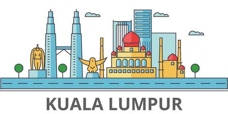 Skyline della città di Kuala Lumpur. Edifici, strade, silhouette, architettura, paesaggio, panorama, punti di riferimento. Tratti modificabili Concetto di design piatto linea vettoriale illustrazione. Icone isolate su sfondo Archivio Fotografico - 78424098