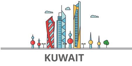 Koweït ville skyline. Bâtiments, rues, silhouette, architecture, paysage, panorama, points de repère. Coups modifiables. Concept de design plat ligne illustration vectorielle. Icônes isolées sur fond blanc