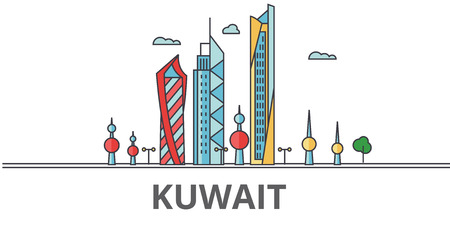 Kuwait city skyline. Buildings, streets, silhouette, architecture, landscape, panorama, landmarks. Editable strokes. Flat design line vector illustration concept. Isolated icons on white background Imagens - 78424099
