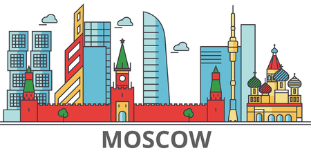 Moscow city skyline. Buildings, streets, silhouette, architecture, landscape, panorama, landmarks. Editable strokes. Flat design line vector illustration concept. Isolated icons on white background