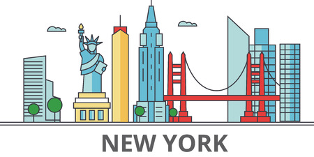 New York city skyline. Buildings, streets, silhouette, architecture, landscape, panorama, landmarks. Editable strokes. Flat design line vector illustration concept. Isolated icons on white background Stock Vector - 78424101