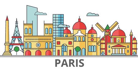 パリの街並み。建物、通り、シルエット、建築、風景、パノラマ、ランドマーク。編集可能なストローク。フラットなデザイン ラインのベクトル図