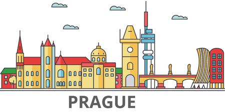 プラハの街のスカイライン。建物、通り、シルエット、建築、風景、パノラマ、ランドマーク。編集可能なストローク。フラットなデザイン ライン
