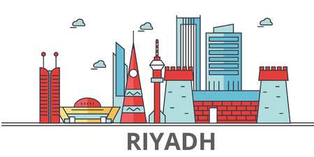 Riyadh city skyline. Buildings, streets, silhouette, architecture, landscape, panorama, landmarks. Editable strokes. Flat design line vector illustration concept. Isolated icons on white background Çizim
