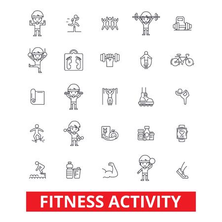 フィットネス、ジム、運動は、フィット、ヨガ、ボディービルの生活様式、アクティブ スポーツ、線のアイコンをしてください。編集可能なストロ