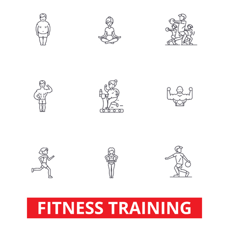 Fitness class gym, workout, running, crossfit, sports, personal trainer,training line icons. Editable strokes. Flat design vector illustration symbol concept. Linear signs isolated on white background