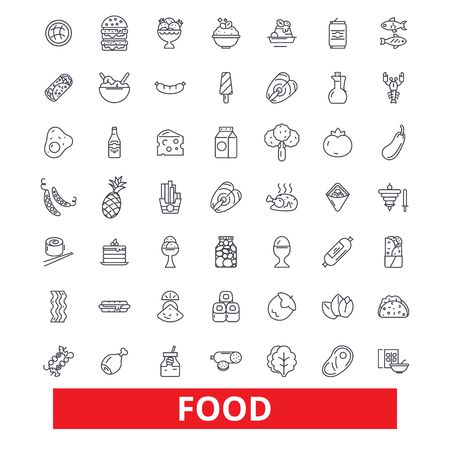Food, eating, tasting, pizza, fish, meat, bakery, cake, products, grocery store line icons. Editable strokes. Flat design vector illustration symbol concept. Linear signs isolated on white background